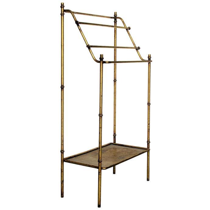 "Italian Gilt Metal Free Standing Towel Rack, $656.47, [1st dibs](https://www.1stdibs.com/furniture/more-furniture-collectibles/racks-stands/umbrella-stands/italian-gilt-metal-free-standing-towel-rack/id-f_19815092/?&currency=aud&gclid=CjwKCAjwr7X4BRA4EiwAUXjbt0YVt5qlnktyrFHJKOXp_qls7ole0Gng4uJYGC6MSs0IcL3DWtKosBoC58YQAvD_BwE&gclsrc=aw.ds|target=""_blank""|rel=""nofollow"")"