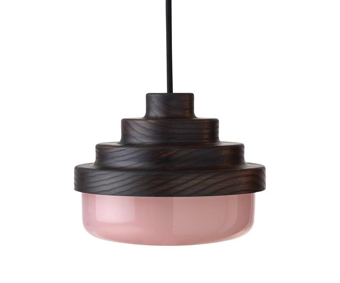 """Honey pink-glass pendant, from $792, [Coco Flip](https://cocoflip.com.au/