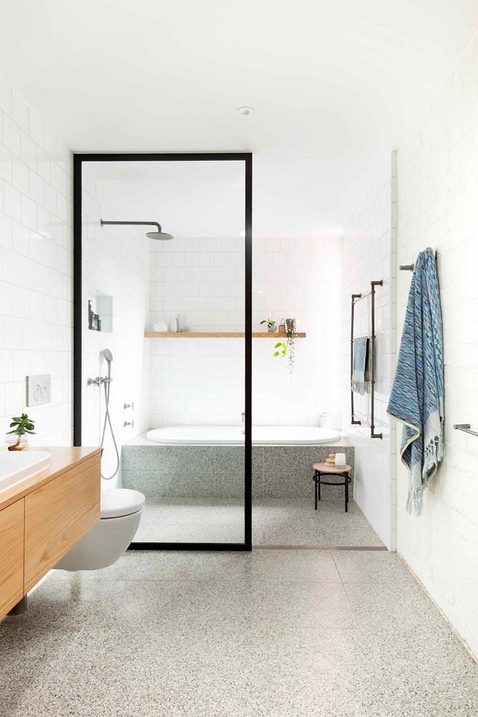 """Taking centre-stage are Signorino terrazzo [tiles](https://www.homestolove.com.au/how-to-re-grout-your-bathroom-tiles-2946