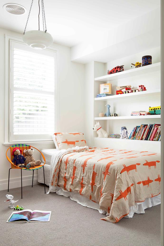 """""""We added personality to Jock's [white bedroom](https://www.homestolove.com.au/white-bedroom-ideas-17500