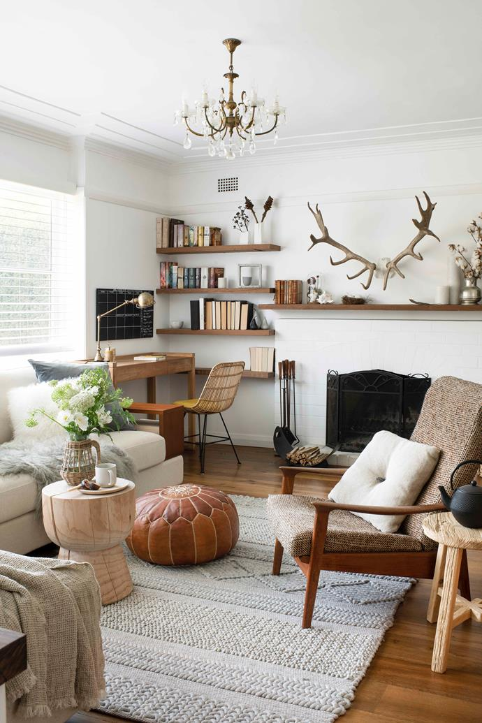 "Mei's knack for unearthing hidden gems is most evident in the [living room](https://www.homestolove.com.au/living-room-planning-guide-4294|target=""_blank""). A treasure trove of collected curios and artefacts from the family's travels, its cohesion comes down to her expert eye. ""There's a little bit of an Asian influence, a bit of country, a bit [Scandi](https://www.homestolove.com.au/scandi-style-decorating-tips-3132