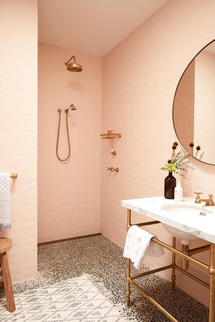 Vanity and tapware, The English Tapware Company. Wall tiles, Urban Edge Ceramics. Mirror and pendant light, Articolo Lighting.