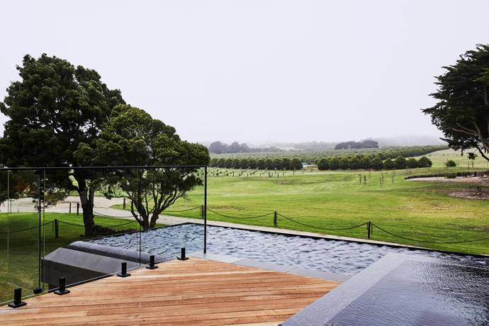 The spacious pavilion-like extension includes a cantilevered infinity pool by Melbourne Pools. Landscaping by In Views.