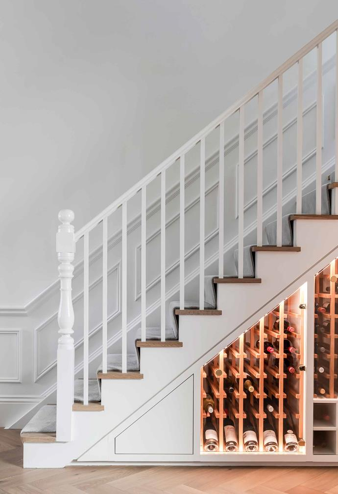 """**Under the stairs** Custom-built [wine storage](https://www.homestolove.com.au/wine-cellar-tips-21267
