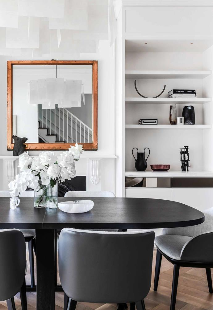"""**Dining room** A Grace oval extension table by Potocco is accessorised with upholstered Johanna dining chairs by Kett, all from [Cosh Living](https://coshliving.com.au/