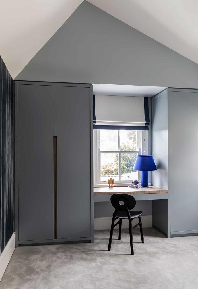 """**Bedroom** This is the desk space in the little boy's room, looking out to the back of the house. The cabinetry has been painted a [Resene](https://m.resene.com.au/