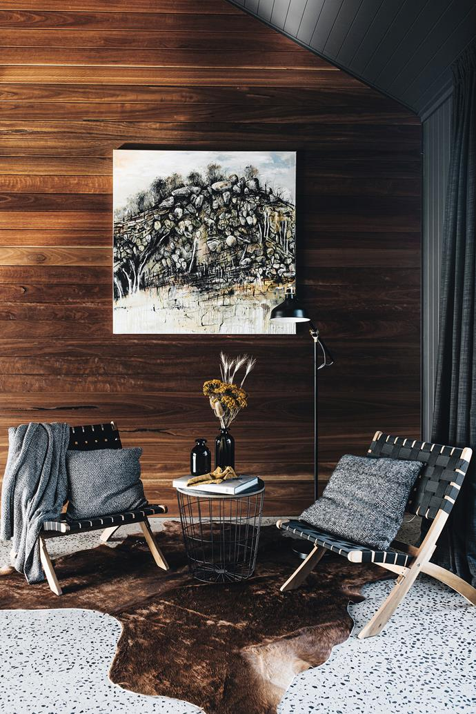 A painting by Chris Kenyon from Soho Galleries Sydney presides over this space and the curtains, designed by the owner Kerry Johnson, were made by The Curtain and Blind Factory.