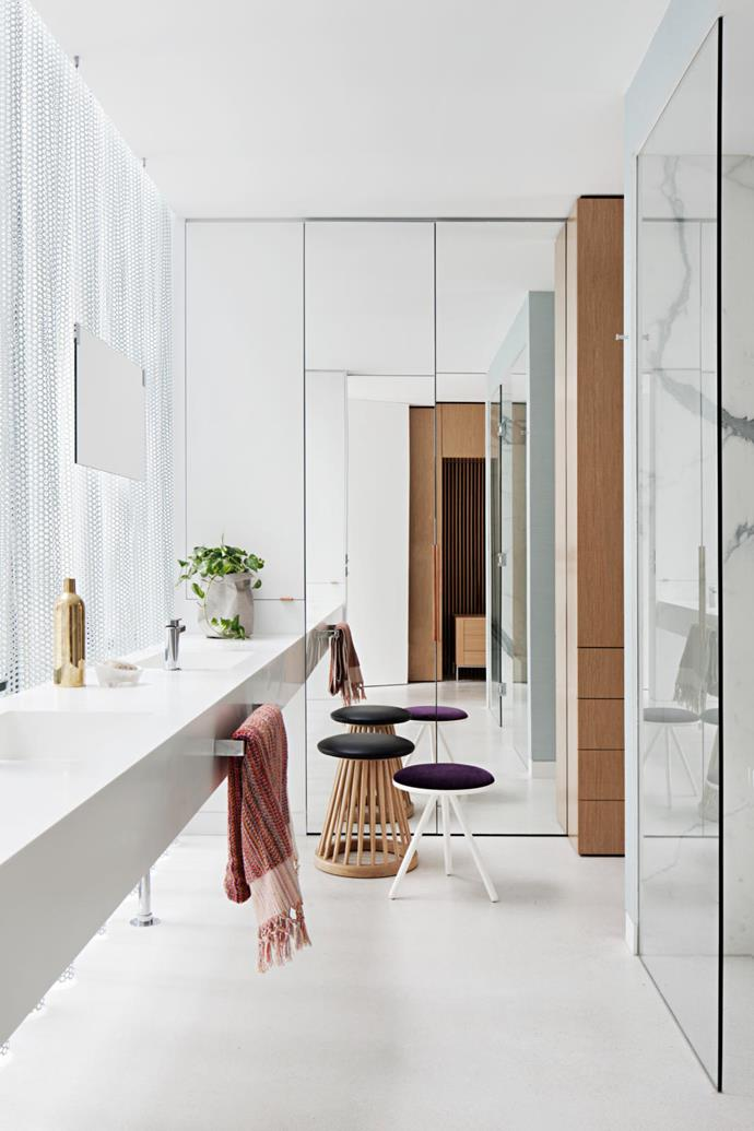Living Divani 'Bolle' white-legged stool by Nathan Yong from Space in the master ensuite. 'Fan' stool by Tom Dixon from De De Ce. Loom towels from Hub.
