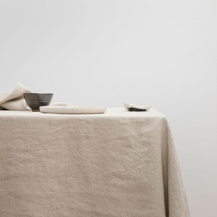 "Linen Tablecloth - Natural, from $145, [Cultiver](https://cultiver.com.au/products/linen-tablecloth-natural?variant=29382533644311|target=""_blank""