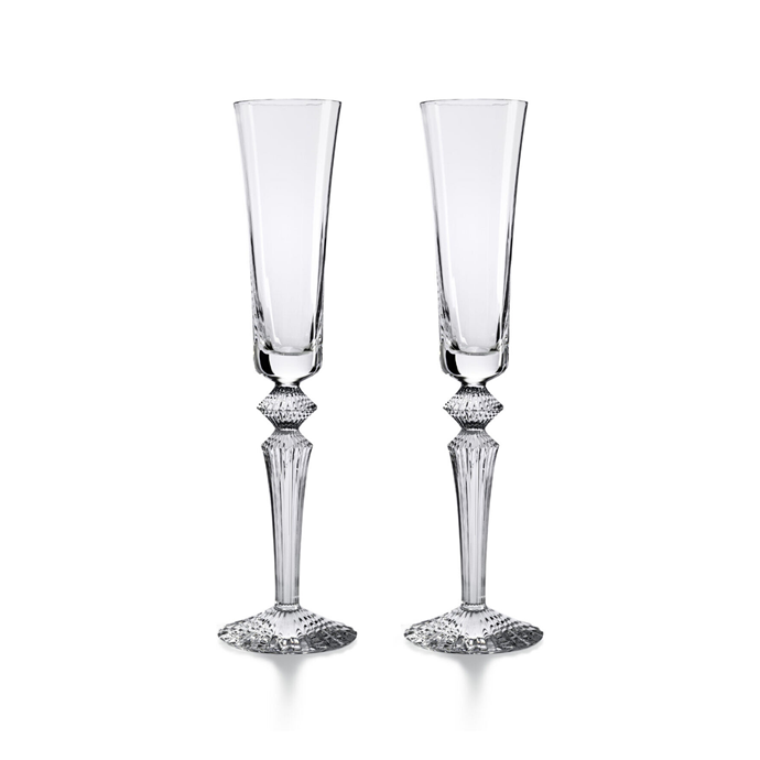 """Baccarat 'Mille Nuits' clear champagne flutissimo set of two, $999, [Palmer & Penn](https://palmerandpenn.com.au/collections/baccarat/products/baccarat-mille-nuits-clear-champagne-flutissimo-set-of-2