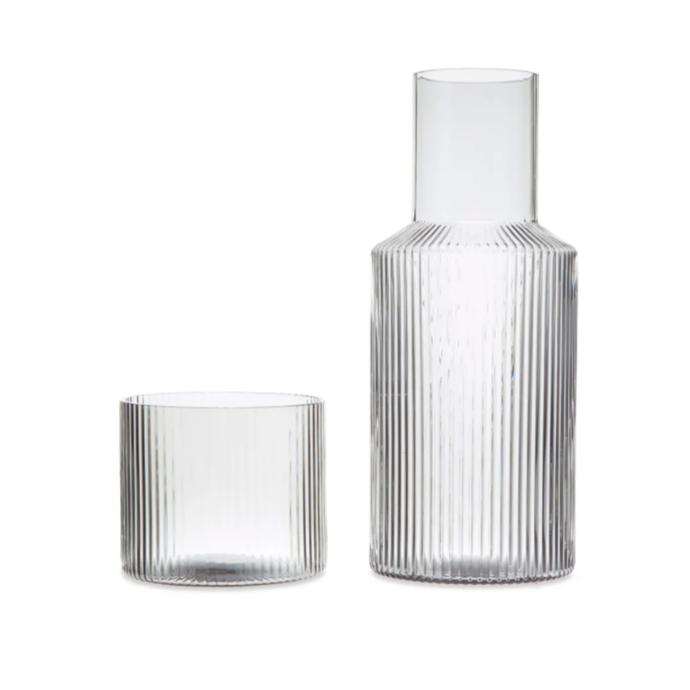 "ferm LIVING ripple carafe set, $79, [Design Stuff](https://www.designstuff.com.au/ferm-living-ripple-carafe-set|target=""_blank""|rel=""nofollow"")"