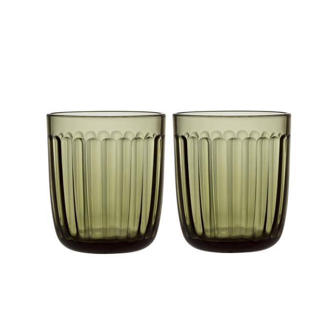 "'Raami' tumbler pair in moss green, $34.95, [Iitala](https://www.iittala.com.au/raami-tumbler-pair-moss-green.html?gclid=CjwKCAjwgdX4BRB_EiwAg8O8Hcg5jhRZaF1XMFf6a1KXf9kfXKlKN2oQqOqxiN9IGelu_4YCoySiDhoCWSIQAvD_BwE|target=""_blank""|rel=""nofollow"")"