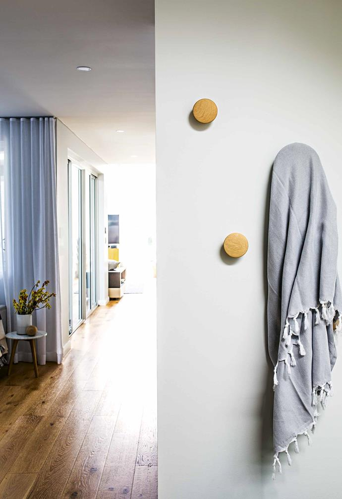 "**Hallway** [Muuto](https://muuto.com/|target=""_blank""|rel=""nofollow"") wall hooks add a stylish feature."