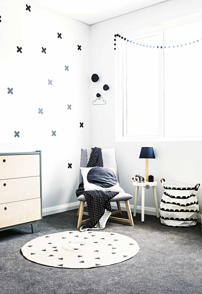"**Hendrix's Room** ""I always envisioned a little boy's room being grey, black and white,"" says Lauren. A [Jardan](https://www.jardan.com.au/