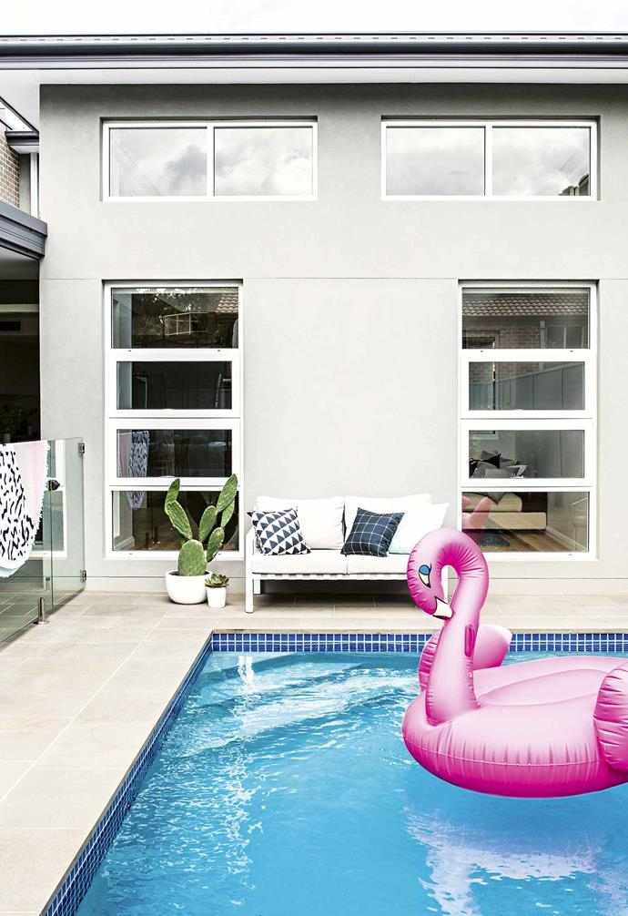 **Pool** A swimming pool and outdoor entertaining space is perfect during the summer.