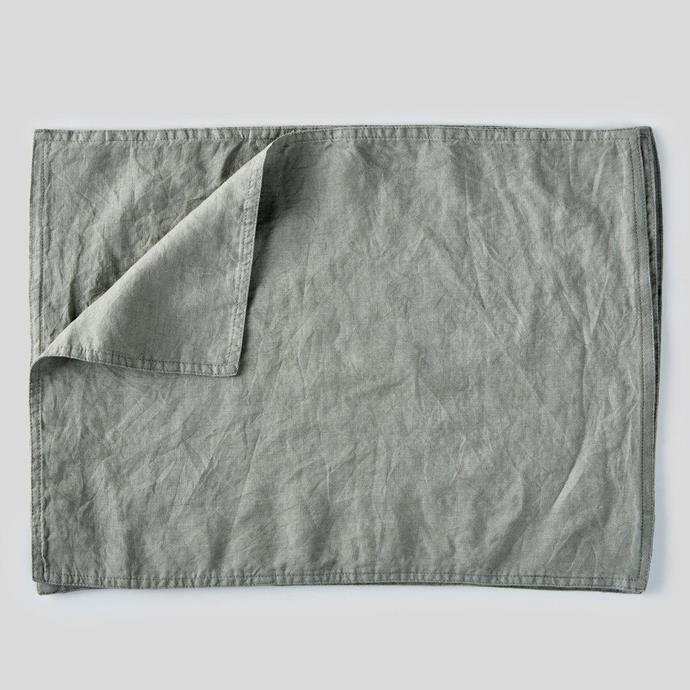 "100% Linen Placemat Set in Stone, $65, [In Bed](https://inbedstore.com/collections/placemats/products/100-linen-placemat-set-in-stone|target=""_blank""