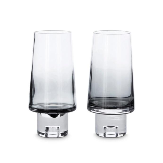 "Tom Dixon 'Tank' high ball glass set of two, $150, [top3 by Design](https://top3.com.au/designers/tom-dixon|target=""_blank""|rel=""nofollow"")"