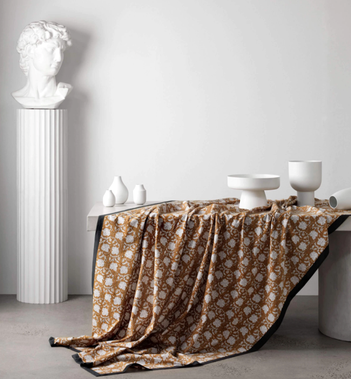 "Thallo Table Cloth in Clay, $123, [L&M Home](https://www.lmhome.com.au/collections/table-cloths/products/thallo-table-cloth-clay|target=""_blank""