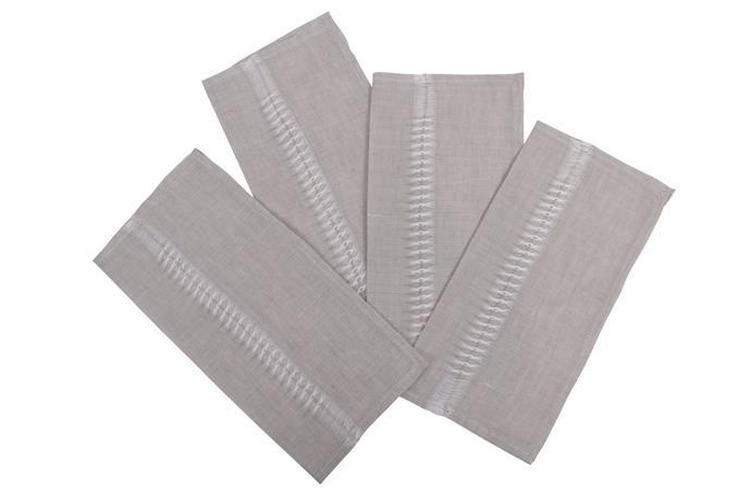 "Apulian linen napkins QTY 4 grey, $99, [Alex and Trahanas](https://alexandtrahanas.com/collections/napkins/products/apulian-linen-napkins-qty-4-grey|target=""_blank""|rel=""nofollow"")"