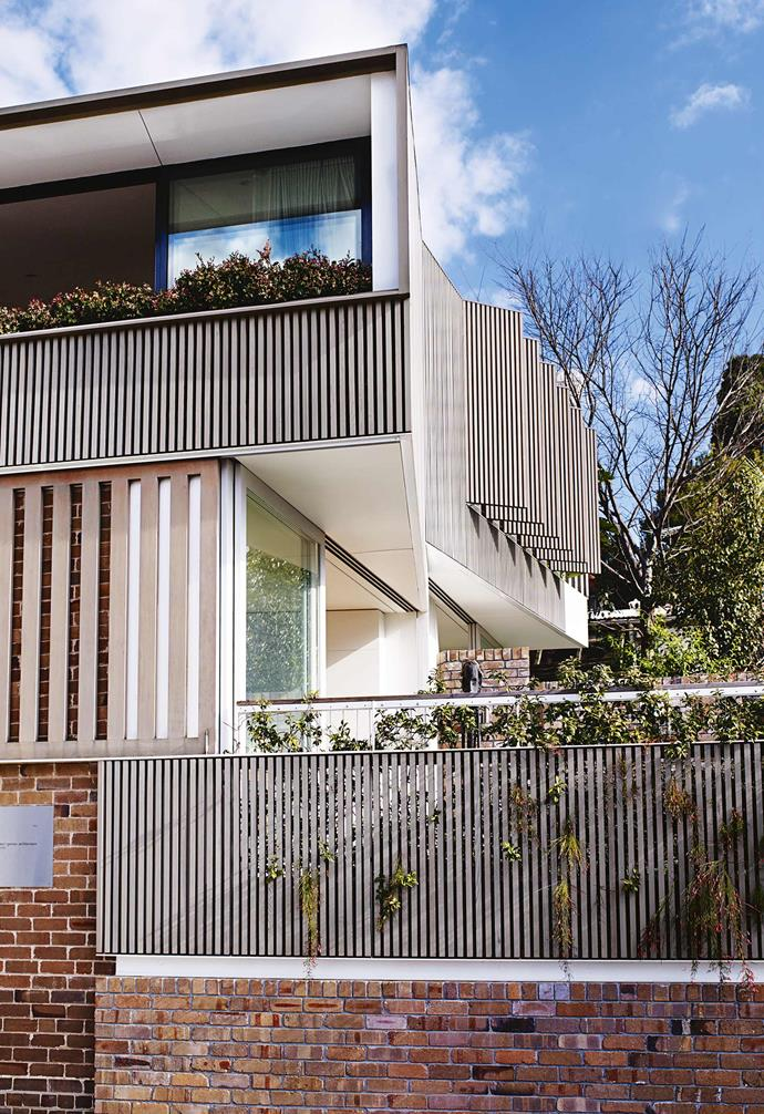 A mix of steel fencing and brickwork provides the small courtyard of this multigenerational home in Balmain with privacy from the street without the feeling of being closed in. The clever material combination adds a raw and contemporary touch.