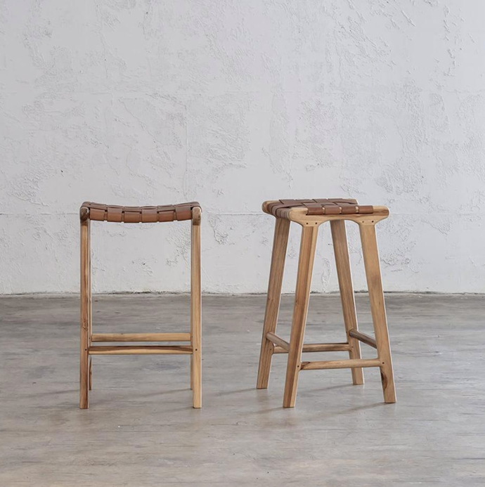 """Maland Woven Leather Bar Stool in Tan Leather Hide, $249, [Living by Design](https://livingbydesign.net.au/collections/bar-stools-kitchen-stools-counter-stools/products/maland-woven-leather-bar-stool-tan-leather-hide