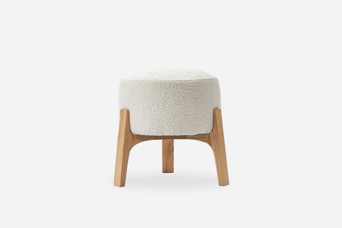 """Kit Stool, $159, [Castlery](https://www.castlery.com.au/products/kit-stool?quantity=1&material=snow%20boucl%C3%A9