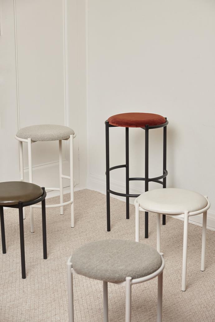 "Fomu Upholstered Stool range, from $490, [Fomu](https://www.fomudesign.com/shop-1/fomu-upholstered-stool-range|target=""_blank""|rel=""nofollow"")"