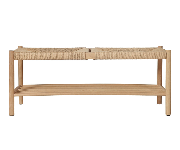 "Olsen bench, $699, [Life Interiors](https://www.lifeinteriors.com.au/life-interiors-olsen-bench-oak|target=""_blank""|rel=""nofollow"")"