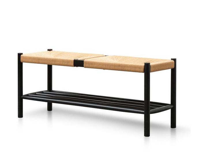 "'Erika' black oak bench, $580, [Interior Secrets](https://www.interiorsecrets.com.au/products/erika-110cm-black-oak-bench-natural-seat?variant=31206697992303&currency=AUD&gclid=CjwKCAjwx9_4BRAHEiwApAt0zlgC5Uf2AQhQVsjd_DGeq4__ov0D7dU29LAlcQBGHGiPTMJJSdo_9BoCsoMQAvD_BwE|target=""_blank""|rel=""nofollow"")"