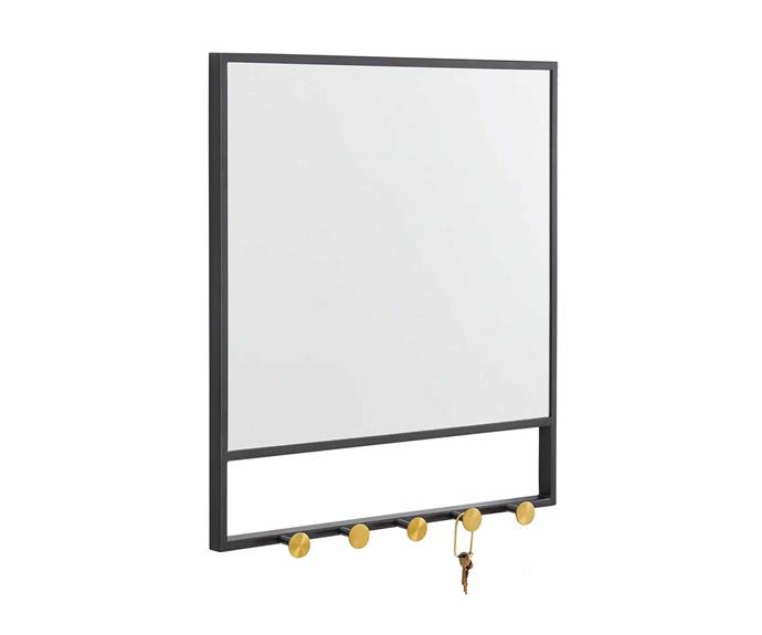 "Floating Lines entryway mirror and hooks, $249, [West Elm](https://www.westelm.com.au/|target=""_blank""|rel=""nofollow"")."