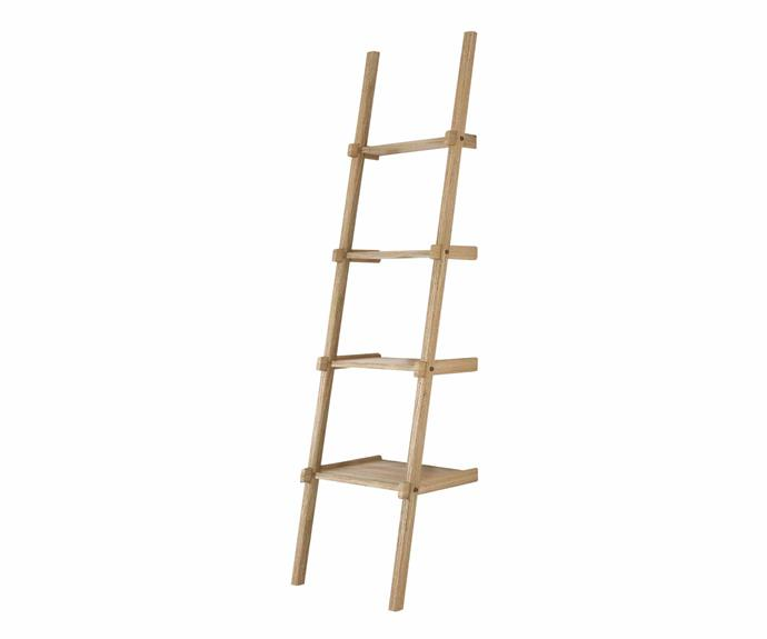"Karpenter Oak 'Simply City' ladder shelves in Oak, $685, [RJ Living](https://www.rjliving.com.au/|target=""_blank""|rel=""nofollow"")."