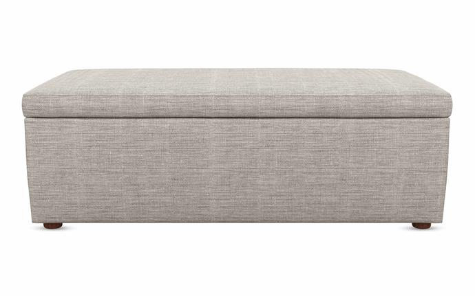 "Neo storage ottoman in Astral Platinum, $999, [Plush](https://www.plush.com.au/|target=""_blank""