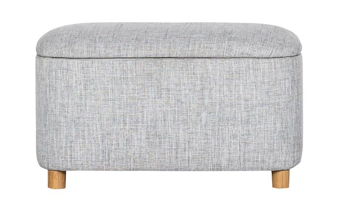"Pebble fabric storage ottoman in Pumice, $289, [Freedom](https://www.freedom.com.au/|target=""_blank""