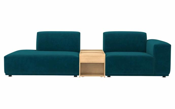 "Todd sofa with storage table in Deep Teal Velvet, $1759, [Castlery](https://www.castlery.com.au/|target=""_blank""