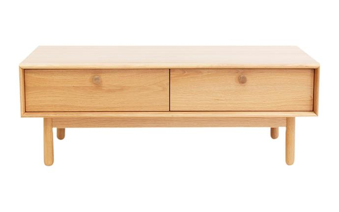 "Akira American white oak coffee table with two soft-close drawers, $599, [RJ Living](https://www.rjliving.com.au/|target=""_blank""