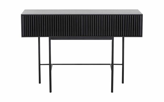 "Unico 'Lizzie' console table in Black/Smoke, $629, [RJ Living](https://www.rjliving.com.au/|target=""_blank""