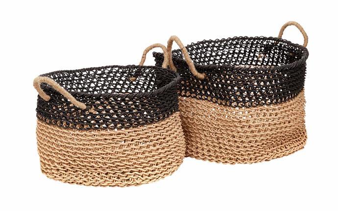 "Ashoka paper basket set, $121, [Tribe Home](https://tribehome.com.au/|target=""_blank""|rel=""nofollow"")."