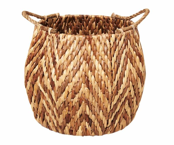"Water hyacinth hexagonal basket with rope handles, $149, [Inartisan](https://www.inartisan.com/|target=""_blank""|rel=""nofollow"")."