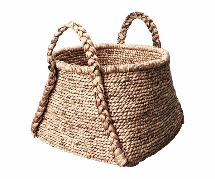 "Water hyacinth rounded square basket with plaited handles, $149, [Inartisan](https://www.inartisan.com/|target=""_blank""