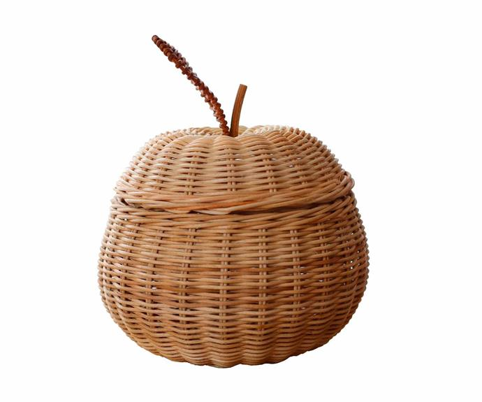 "Rattan apple storage basket, $45, [Juni Moon](https://www.instagram.com/junimoon_store/?hl=en|target=""_blank""|rel=""nofollow"")."