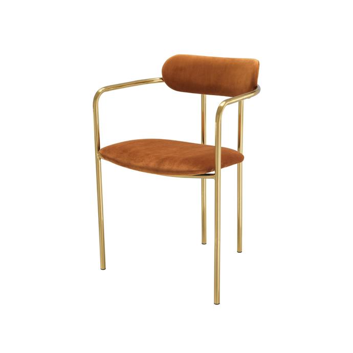 "Singer Roche orange velvet dining chair, $745/ set of two, [James Said](https://www.jamessaid.com.au/singer-roche-orange-velvet-dining-chair-set-of-2.html target=""_blank"" rel=""nofollow"")"