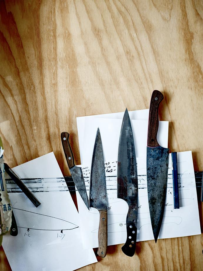 Sketches of chef's and paring knives. Todd's designs are based on the Japanese gyuto.