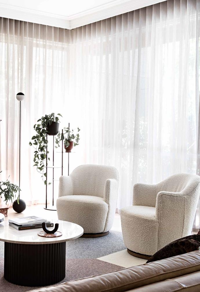 """**Living area** Milou swivel chairs from [Coco Republic](https://www.cocorepublic.com.au/