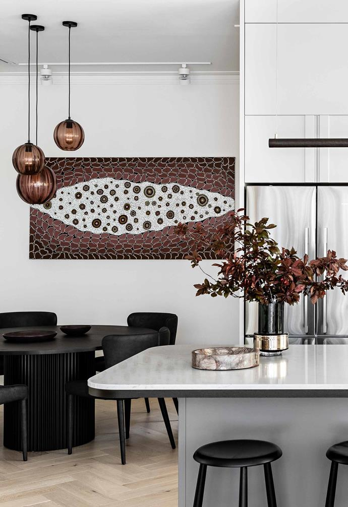 """**Dining** An artwork by Stan Yarramunua is complemented by [Mark Douglass](https://www.markdouglassdesign.com/