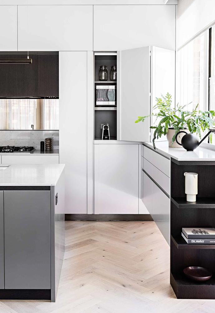 """**Storage** Alexandra designed the cupboards to conceal as many appliances as possible while allowing extra light to flow in under the window bench. The cabinetry colours are [Dulux](https://www.dulux.com.au/