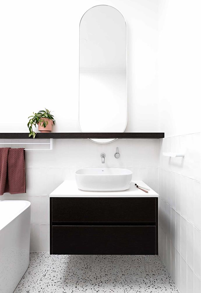 """**Bathroom** In this practical space off the laundry are white wall and terrazzo floor tiles from [National Tiles](https://www.nationaltiles.com.au/
