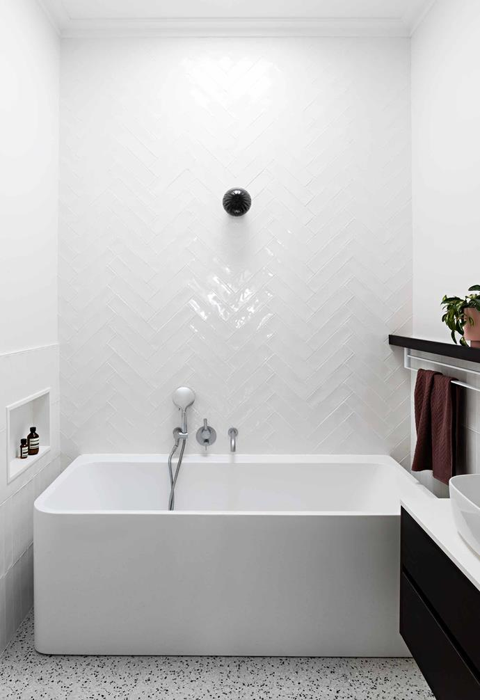 """**Bathroom** The bath is the Posh Domaine design from [Reece](https://www.reece.com.au/