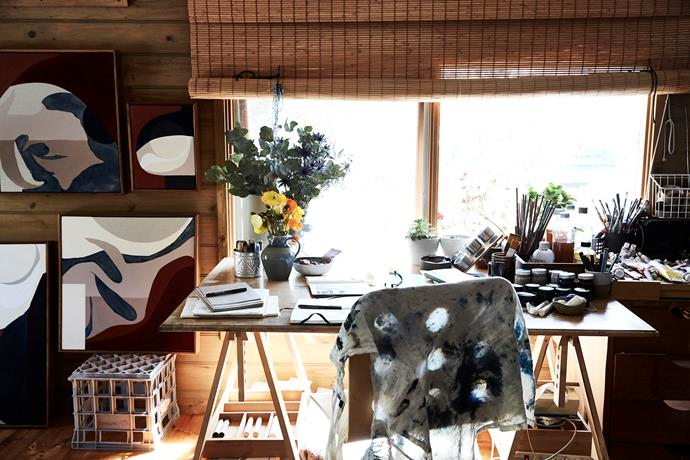 """The [desk on her studio](https://www.homestolove.com.au/home-office-desk-ideas-18185