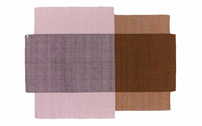 "Ames 'Nobsa' rug in Rose/Ochre (130cm x 214cm), $2795, [Halcyon Lake](https://halcyonlake.com/|target=""_blank""