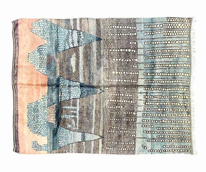 "Moroccan Beni rug (340cm x 435cm), $17,400, [Loom](https://www.loomrugs.com/|target=""_blank""|rel=""nofollow"")."